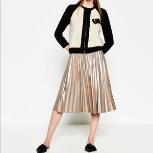 NWOT Zara Metallic Fine Pleated Skirt
